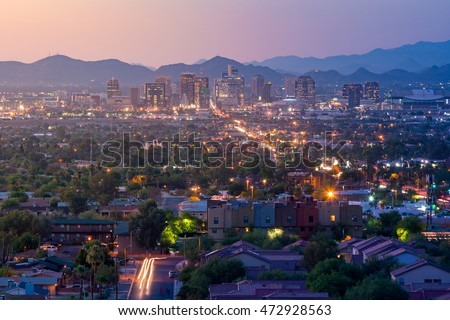 Top view of downtown Phoenix Arizona at sunset in USA
