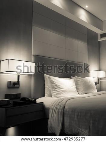 Hotel room or bedroom Interior. hotel concept. #472935277