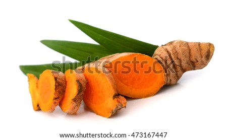 Raw Turmeric over white background #473167447