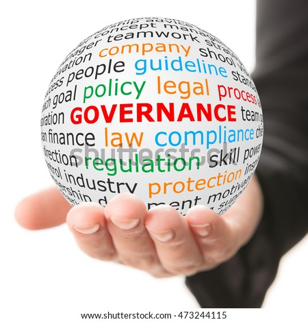 Governance concept. Hand take white ball with wordcloud and governance word in red color. Royalty-Free Stock Photo #473244115