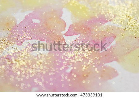 Abstract watercolor glittery background. Dreamy, blurred, magical backdrop. Elegant, feminine, soft light, golden abstraction.