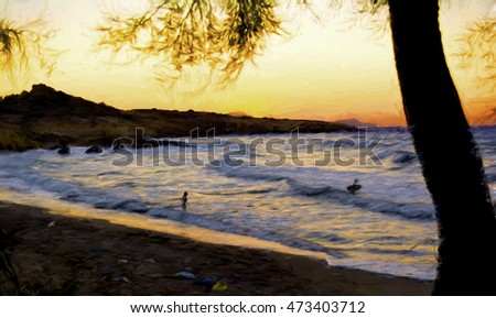 Beautiful sunset at a beach of Greek island of Milos - Painting effect #473403712