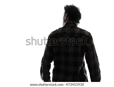 Back view male person silhouette #473455930