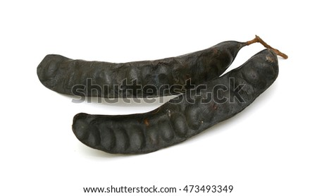 Gleditsia triacanthos fruit isolated on white background #473493349