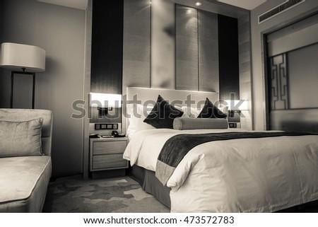 Hotel room or bedroom Interior. hotel concept. #473572783