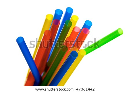 a bundle of colourful straws #47361442