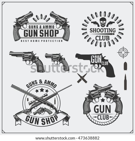 Collection of Gun club emblems, labels and design elements. Revolvers, shotguns, rifles bullets and target.