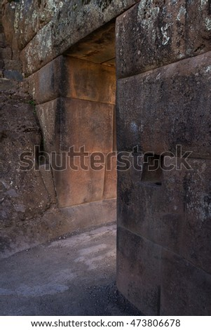 Amazing inca Stone work with precision and perfection as seen here on a doorway #473806678