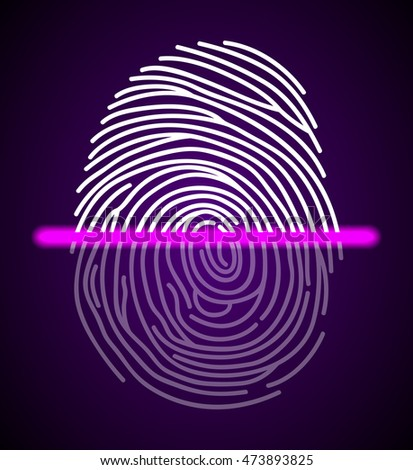Fingerprint scanner illustration.Vector illustration #473893825