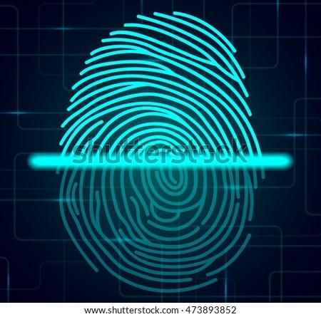 Fingerprint scanner illustration .Vector illustration #473893852