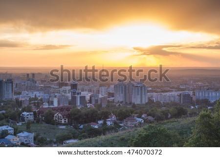 Sunset in Almaty, Kazakhstan #474070372