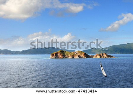 Sail boat during late afternoon in Saint Martin, Caribbean Islands #47413414