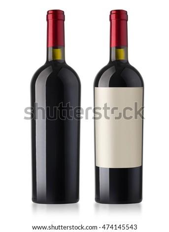 Wine bottle Isolated on white background  #474145543