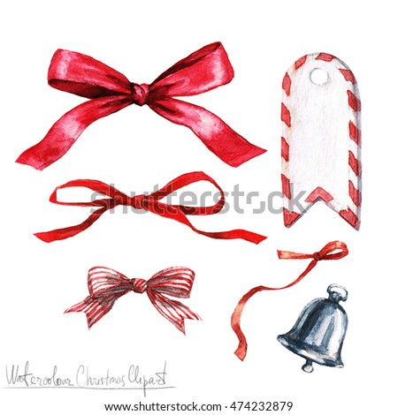 Watercolor Christmas Clipart - Bows