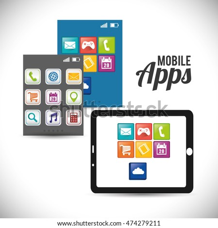 tablet mobile apps application online icon set. Colorful and flat design. Vector illustration #474279211