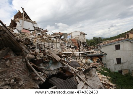 Aquila, Italy 17 april 2009: Cities and homes destroyed after  the earthquake  that hit central Italy during the L'Aquila earthquake in April 2009. #474382453