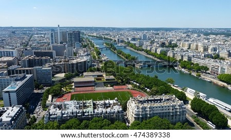 View over Paris and River Seine. #474389338