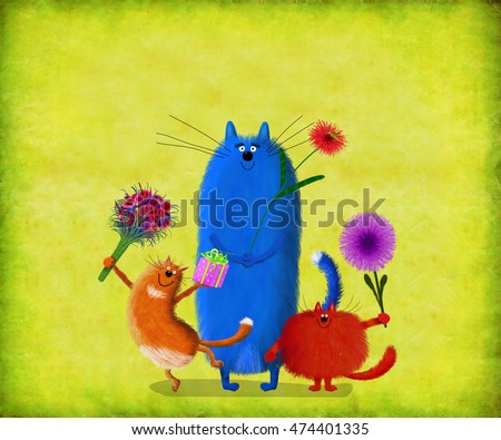 Three funny colorful cats holding presents and flowers standing on the lemon yellow background.