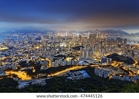 Residential building in Hong Kong at night #474445126