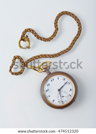 Old mechanical pocket watch with chain #474512320