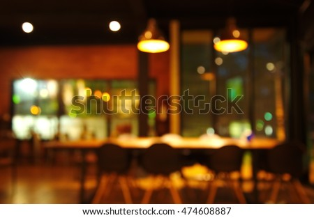 blur chair and table in restaurant or cafe at dark night   #474608887