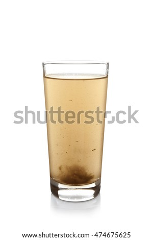 Dirty water in glass, isolated on white #474675625