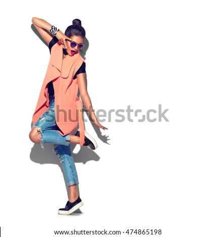 Fashion Model girl full length portrait isolated on white background. Beauty stylish brunette woman posing in fashionable clothes in studio. Casual style, beauty accessories. High fashion urban style #474865198