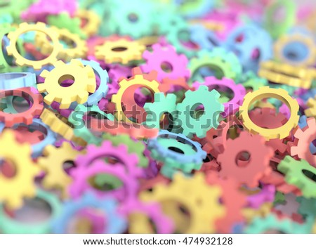 Abstract colorful mix of toy gears and cogs. Realistic 3D illustration of colorful toys with depth of field blur effect.  #474932128