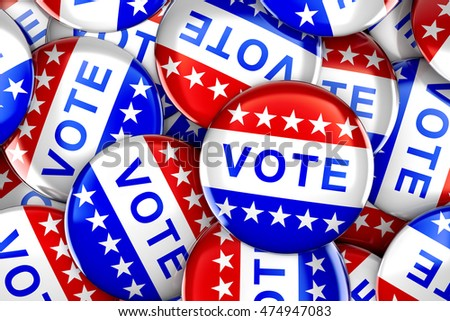 Vote button in red, white, and blue with stars - 3d rendering #474947083