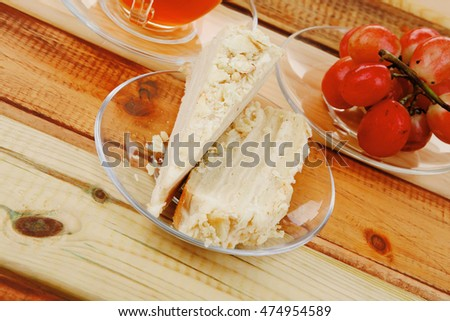 cake dessert and tea on wooden table #474954589