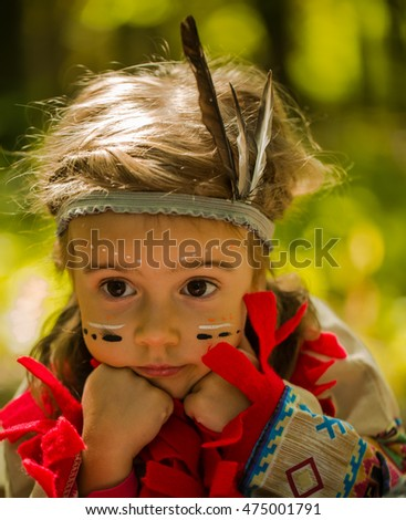 beautiful little girl playing outdoors in the woods, Indian image, emotions of a little girl