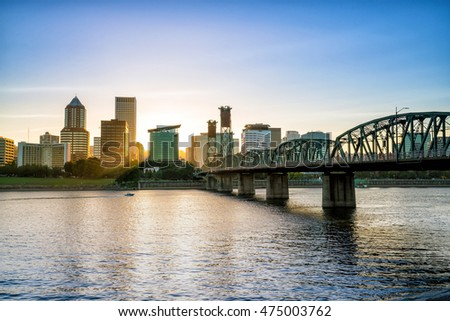 Downtown Portland Oregon skyline at sunset in USA