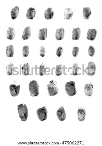 Realistic police fingerprint set. Ink stamp on isolated white background.  #475062271