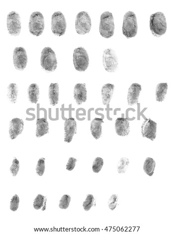 Realistic police fingerprint set. Ink stamp on isolated white background.  #475062277