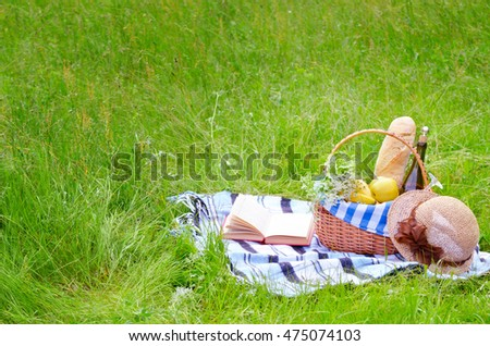 Picnic basket with fruits wine and bread on the grass with book and hat #475074103