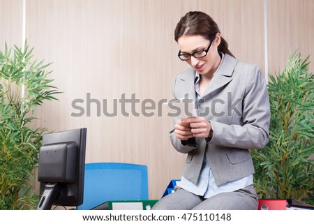 Office woman making paper airplanes #475110148