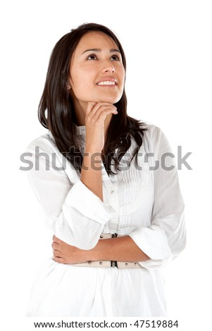 Thoughtful woman isolated over a white background