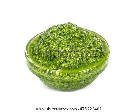 Pesto Sauce with Basil on White Background Studio Photo #475223401