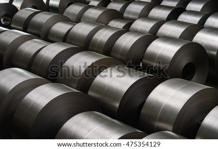 Cold rolled steel coil at storage area in steel industry plant. #475354129