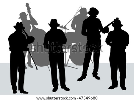 drawing music jazz orchestra. Artists on stage #47549680