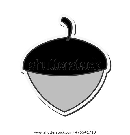 flat design single acorn icon vector illustration #475541710