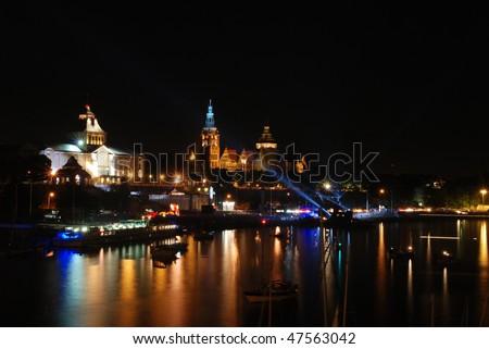 Waly Chrobrego at Night, Szczecin Old Town Royalty-Free Stock Photo #47563042