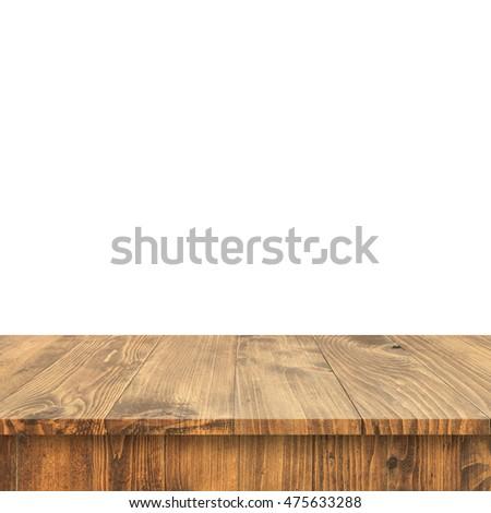 Wood Shelf Table isolated on white background #475633288