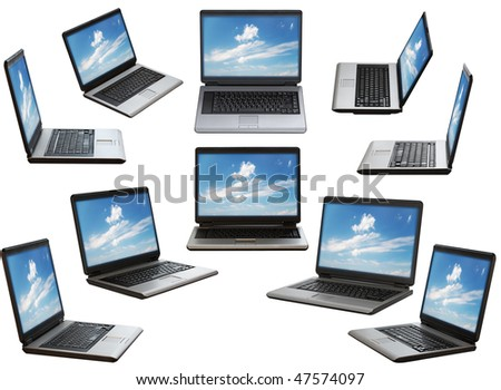 laptop on white background with clipping path #47574097
