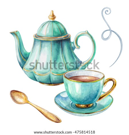 watercolor illustration, cup of tea, teapot, spoon, isolated on white background