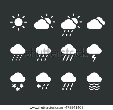 Modern weather icons set. Flat vector icons on dark background. #475841605