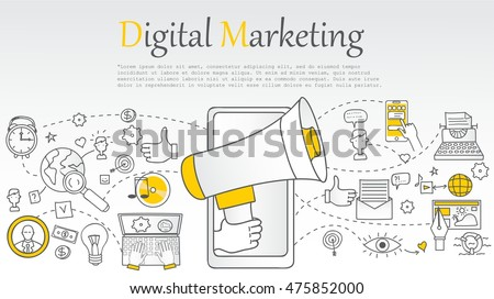 Hand drawn vector illustration background of digital marketing with doodles elements Royalty-Free Stock Photo #475852000