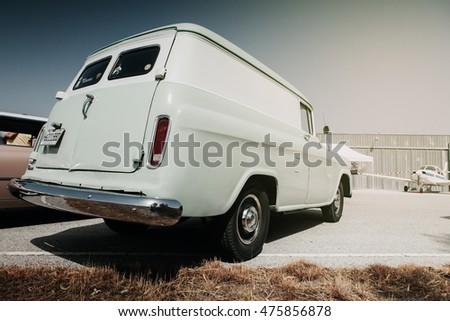MALAGA, SPAIN - JULY 30, 2016: GMC Suburban 1959 classic wagon, parked in Malaga aerodrome, Spain. #475856878