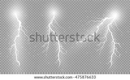 Set of lightnings Magic and bright lighting effects. Vector Illustration