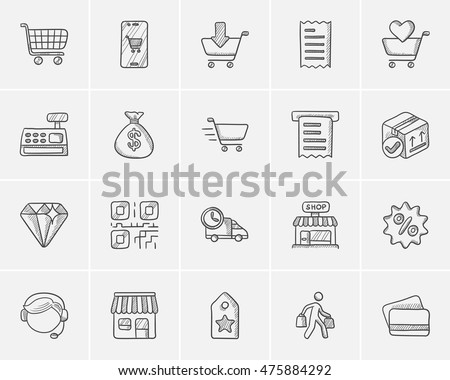 Shopping sketch icon set for web, mobile and infographics. Hand drawn shopping icon set. Shopping vector icon set. Shopping icon set isolated on white background. #475884292